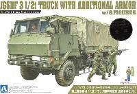 アオシマ1/72 ミリタリーモデルキットシリーズ陸上自衛隊 3 1/2t トラック 装甲強化型 (隊員6体セット)