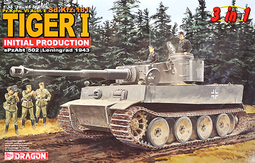 Sd.Kfz.181 ティーガー 1 極初期型 第502重戦車大隊 レニングラード 1943年 (3in1)プラモデル(ドラゴン1/35
