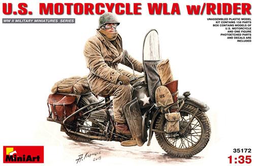 アメリカ モーターサイクル WLA w/ライダープラモデル(ミニアート1/35 WW2 ミリタリーミニチュアNo.35172)商品画像