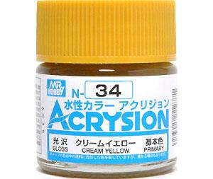 クリームイエロー (N-34)塗料(GSIクレオス水性カラー アクリジョンNo.N-034)商品画像