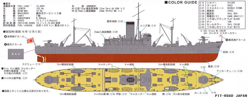 日本海軍 給糧艦 伊良湖 就役時プラモデル(ピットロード1/700 スカイウェーブ W シリーズNo.W178)商品画像_1