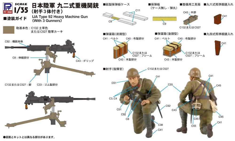 日本陸軍 九二式重機関銃 (射手3体付き)プラモデル(ピットロード1/35 グランドアーマーシリーズNo.G039)商品画像_1
