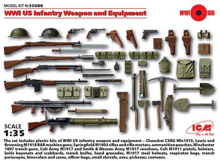 WW1 アメリカ歩兵 ウエポン & 装備プラモデル(ICM1/35 ミリタリービークル・フィギュアNo.35688)商品画像