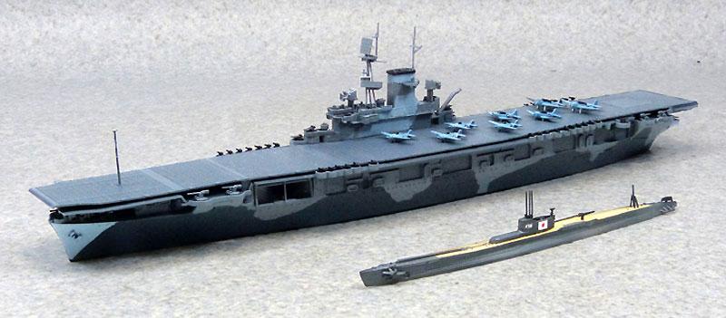 米国海軍 航空母艦 ワスプ & 日本海軍 潜水艦 伊19プラモデル(アオシマ1/700 ウォーターラインシリーズNo.010303)商品画像_1