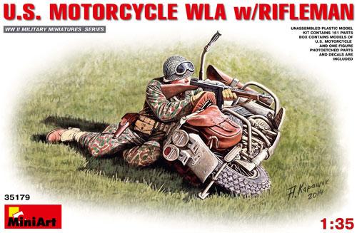 アメリカ モーターサイクル WLA w/ライフルマンプラモデル(ミニアート1/35 WW2 ミリタリーミニチュアNo.35179)商品画像