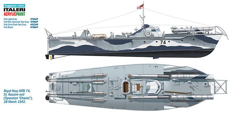 イギリス海軍 魚雷艇 ボスパー MTB74 サン・ナゼール強襲 (エッチングパーツ付)プラモデル(イタレリ1/35 艦船モデルシリーズNo.5619)商品画像_1