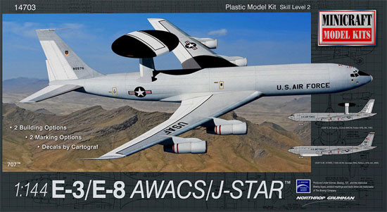 アメリカ空軍 E-3/E-8 AWACS/ジョイントスターズプラモデル(ミニクラフト1/144 軍用機プラスチックモデルキットNo.14703)商品画像