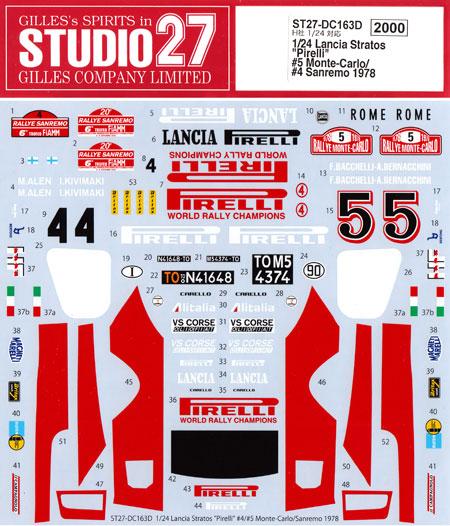 ランチア ストラトス ピレリ #5 モンテカルロ / #4 サンレモ 1978 デカールデカール(スタジオ27ラリーカー オリジナルデカールNo.DC163D)商品画像