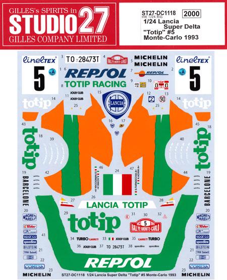 ランチア スーパーデルタ Totip #5 モンテカルロ 1993デカール(スタジオ27ラリーカー オリジナルデカールNo.DC1118)商品画像