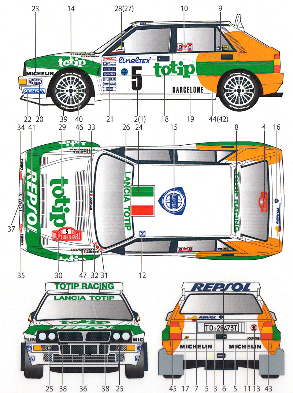 ランチア スーパーデルタ Totip #5 モンテカルロ 1993デカール(スタジオ27ラリーカー オリジナルデカールNo.DC1118)商品画像_2