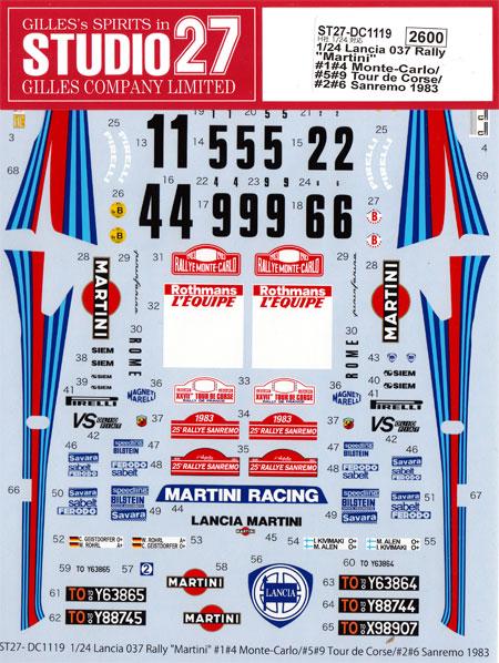 ランチア 037 ラリー マルティーニ モンテカルロ/ ツール・ド・コルス / サンレモ 1983デカール(スタジオ27ラリーカー オリジナルデカールNo.DC1119)商品画像