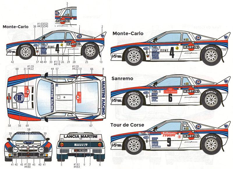 ランチア 037 ラリー マルティーニ モンテカルロ/ ツール・ド・コルス / サンレモ 1983デカール(スタジオ27ラリーカー オリジナルデカールNo.DC1119)商品画像_2