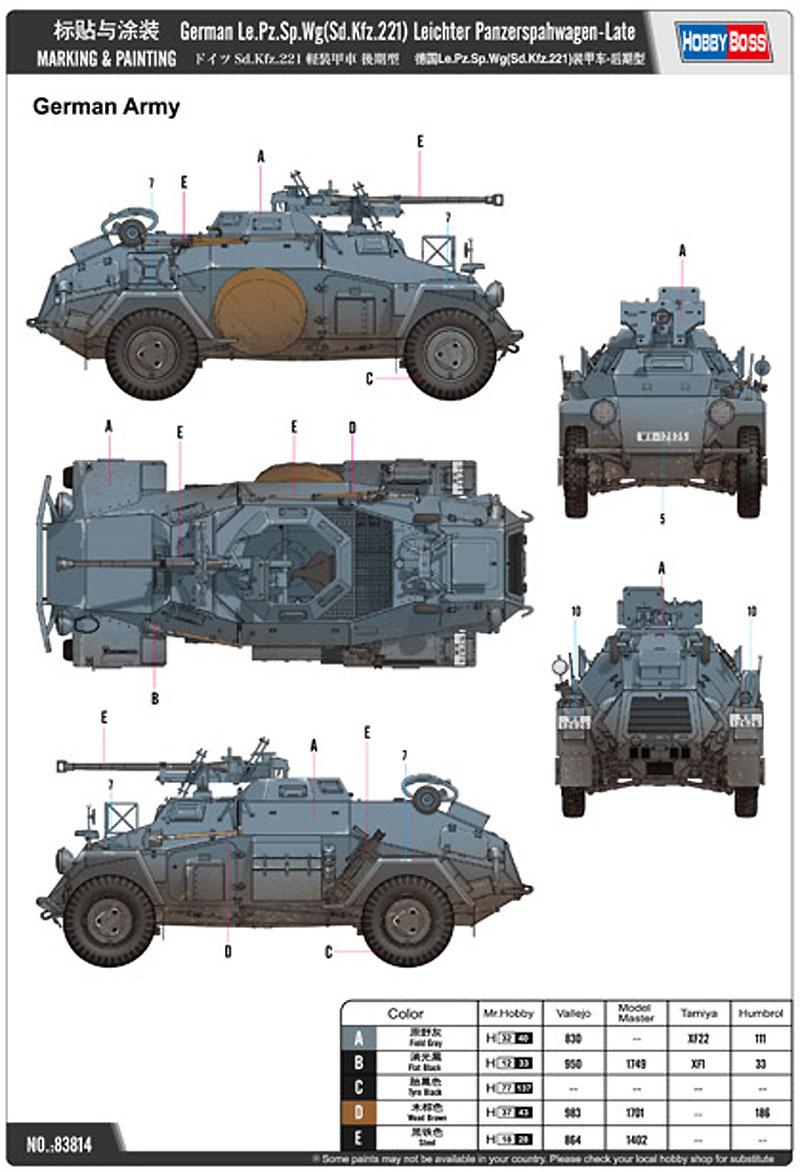 ドイツ Sd.Kfz.221 軽装甲車 後期型プラモデル(ホビーボス1/35 ファイティングビークル シリーズNo.83814)商品画像_1