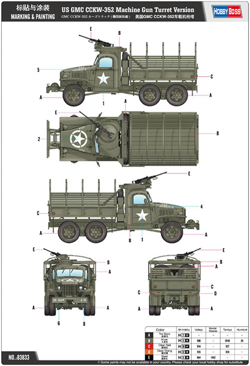 GMC CCKW-352 カーゴトラックプラモデル(ホビーボス1/35 ファイティングビークル シリーズNo.83833)商品画像_1