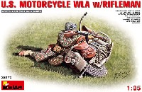 ミニアート1/35 WW2 ミリタリーミニチュアアメリカ モーターサイクル WLA w/ライフルマン