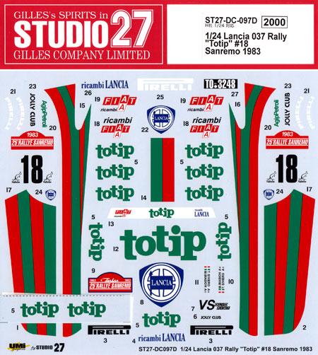 ランチア 037 ラリー Totip #18 サンレモ 1983 デカールデカール(スタジオ27ラリーカー オリジナルデカールNo.DC0097D)商品画像