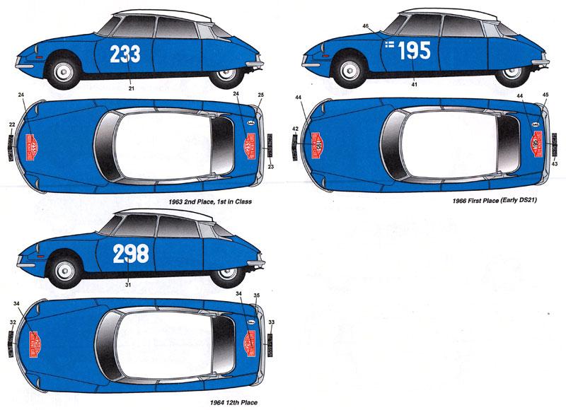 シトロエン DS19 モンテカルロラリー 1959-1966年 #176/#104/#233/#298/#195 デカールデカール(スタジオ27ラリーカー オリジナルデカールNo.DC1135)商品画像_2