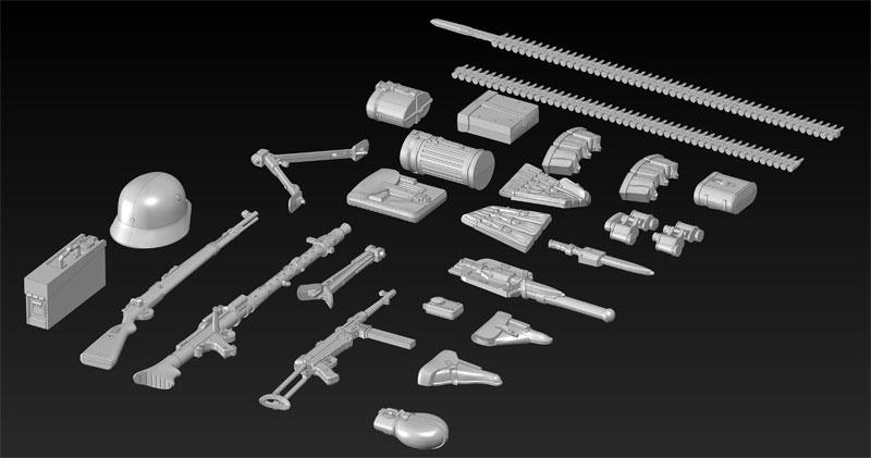 WW2 ドイツ歩兵 ウェポン & 装備セットプラモデル(ICM1/35 ミリタリービークル・フィギュアNo.35638)商品画像_3