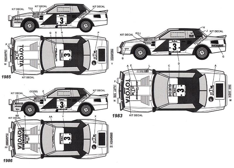 トヨタ セリカ TA64 アイボリーコーストラリー 1983、1985、1986 オプションデカール(タブデザイン1/24 デカールNo.TABU-24071)商品画像_1
