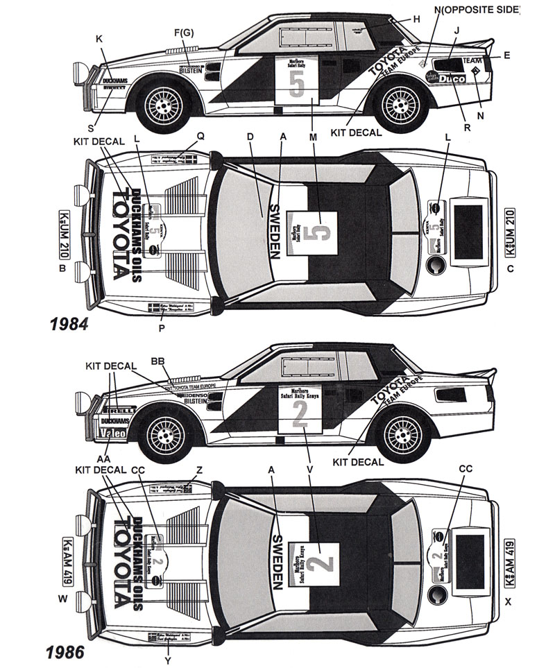 トヨタ セリカ TA64 サファリラリー 1984、1986 オプションデカール(タブデザイン1/24 デカールNo.TABU-24072)商品画像_1