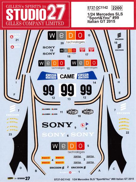 メルセデス SLS Sport&You #99 イタリアGT 2015デカール(スタジオ27ツーリングカー/GTカー オリジナルデカールNo.DC1142)商品画像