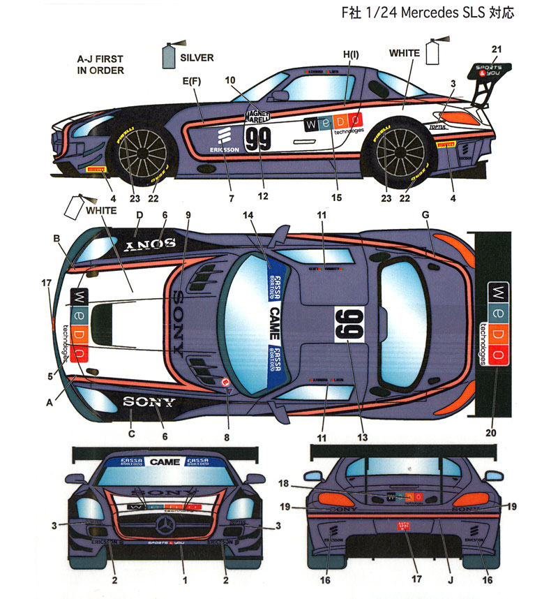 メルセデス SLS Sport&You #99 イタリアGT 2015デカール(スタジオ27ツーリングカー/GTカー オリジナルデカールNo.DC1142)商品画像_1