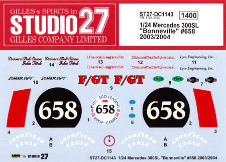 メルセデス 300SL ボンネビル #658 2003/2004デカール(スタジオ27ツーリングカー/GTカー オリジナルデカールNo.DC1143)商品画像