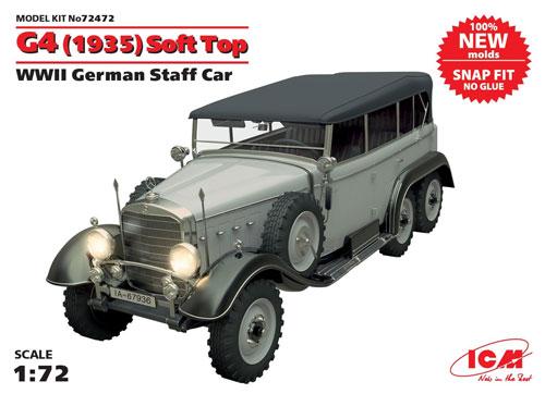 ドイツ G4 スタッフカー ソフトトップ (1935)プラモデル(ICM1/72 ミリタリービークルNo.72472)商品画像