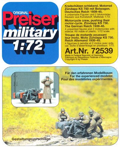 ドイツ オートバイ兵 + ツェンダップ KS750 悪路脱出シーンプラモデル(プライザー1/72 精密プラ製フィギュアNo.72539)商品画像