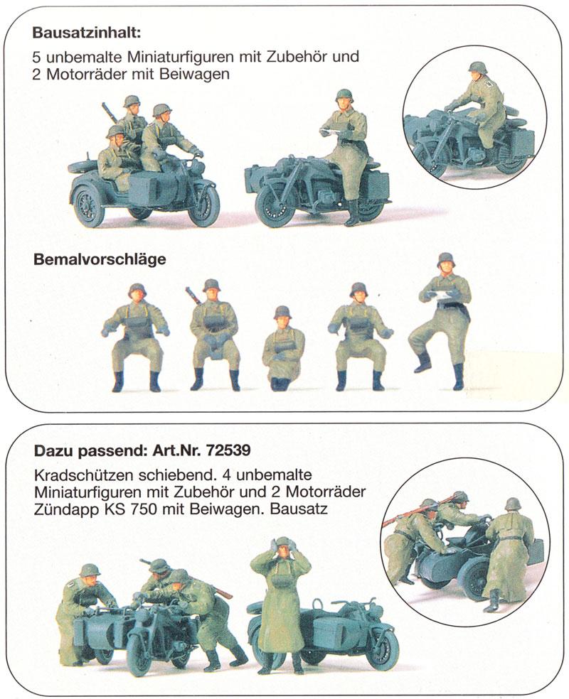 ドイツ オートバイ兵 + ツェンダップ KS750 悪路脱出シーンプラモデル(プライザー1/72 精密プラ製フィギュアNo.72539)商品画像_1