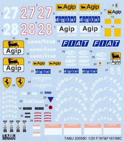 フェラーリ F1 87/88C フルスポンサーデカール(タブデザイン1/20 デカールNo.TABU-20058D)商品画像
