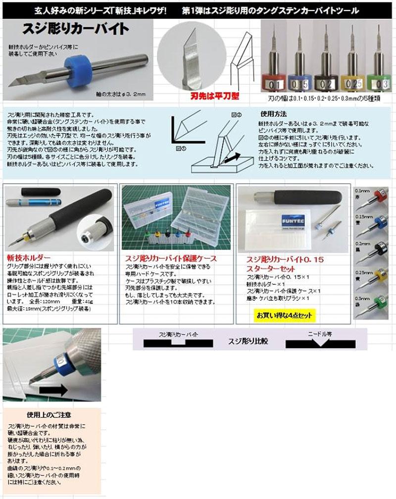 スジ彫りカーバイト 0.15ツール(ファンテック斬技 (キレワザ) シリーズNo.SB-015)商品画像_3