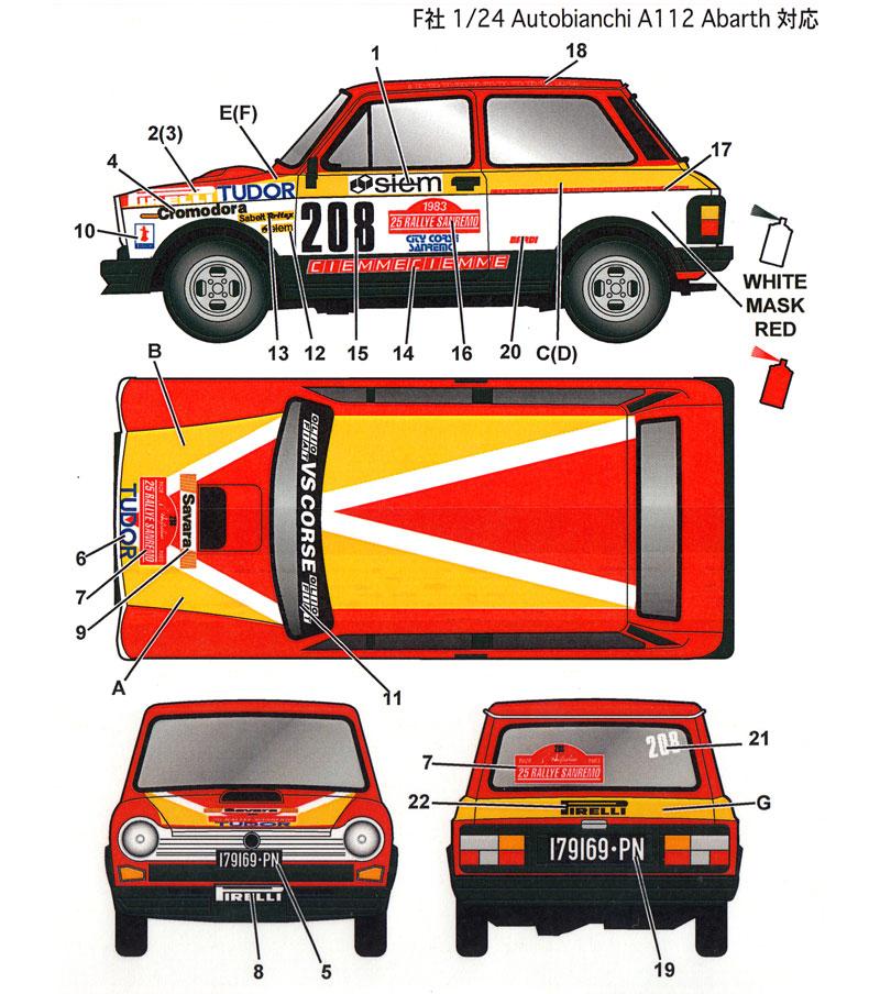 アウトビアンキ A112 アバルト #208 サンレモラリー 1982 デカールデカール(スタジオ27ラリーカー オリジナルデカールNo.DC1151)商品画像_2