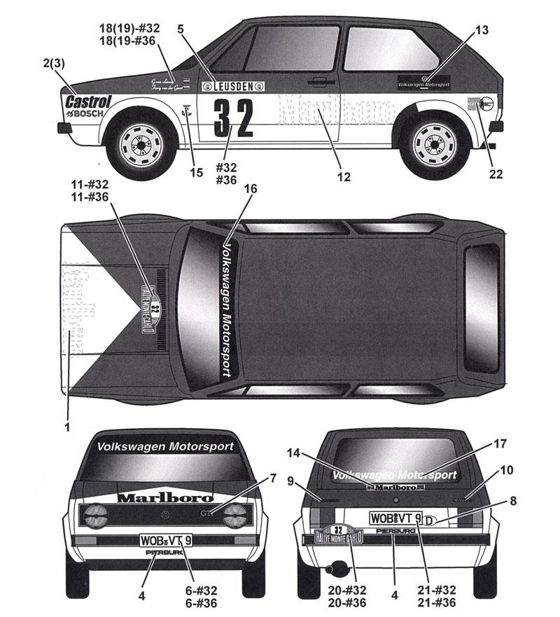フォルクスワーゲン ゴルフ Gti #32/#36 モンテカルロラリー 1980 デカールデカール(タブデザイン1/24 デカールNo.TABU-24076)商品画像_2