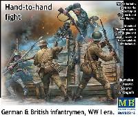 マスターボックス1/35 ミリタリーミニチュアWW1 イギリス・ドイツ歩兵 白兵戦 (塹壕ミニジオラマ付き)