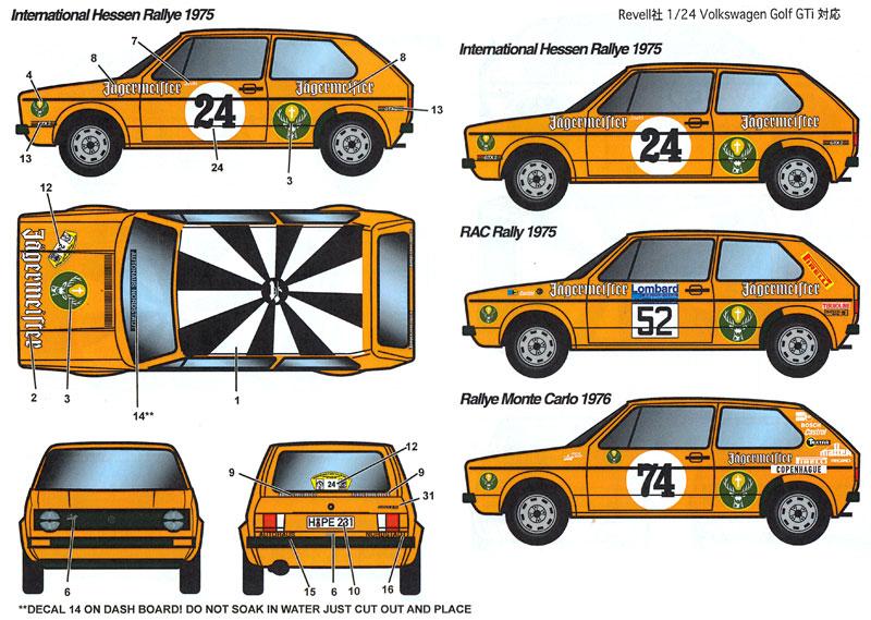 フォルクスワーゲン ゴルフ Gti イェーガーマイスター #24 ヘッセンラリー 1975/#52 RAC 1975/#74 モンテカルロラリー 1976デカール(スタジオ27ラリーカー オリジナルデカールNo.DC1153)商品画像_1