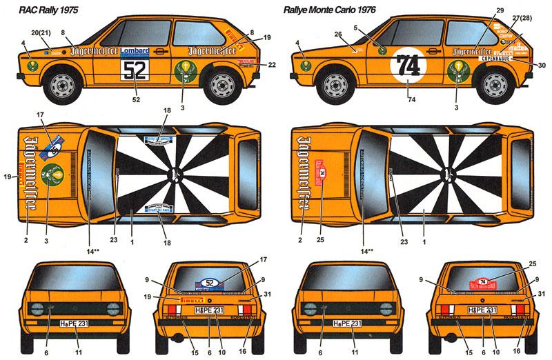 フォルクスワーゲン ゴルフ Gti イェーガーマイスター #24 ヘッセンラリー 1975/#52 RAC 1975/#74 モンテカルロラリー 1976デカール(スタジオ27ラリーカー オリジナルデカールNo.DC1153)商品画像_2