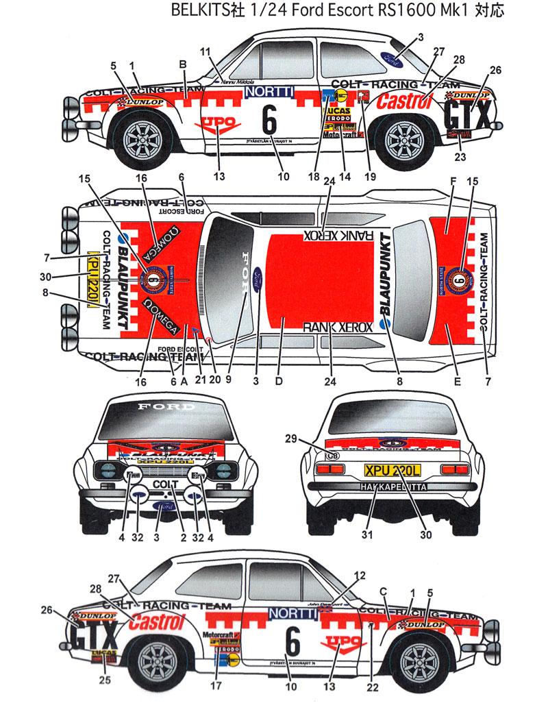 フォード エスコート Mk.1 #6 1000湖ラリー 1974デカール(スタジオ27ラリーカー オリジナルデカールNo.DC1154)商品画像_1