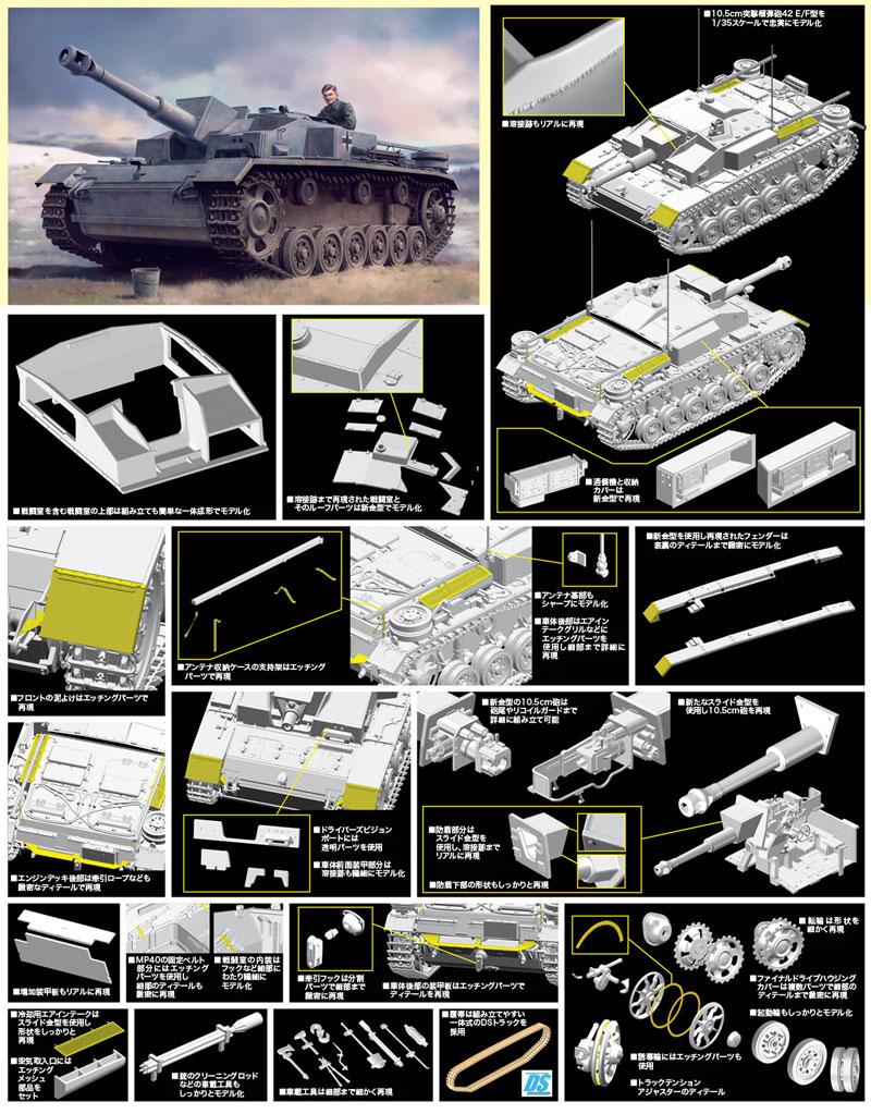 ドイツ 10.5cm 突撃榴弾砲42 E/F型プラモデル(ドラゴン1/35 '39-'45 SeriesNo.6834)商品画像_2