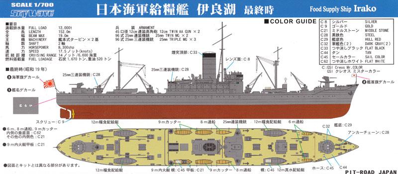日本海軍 給糧艦 伊良湖 最終時プラモデル(ピットロード1/700 スカイウェーブ W シリーズNo.W186)商品画像_1