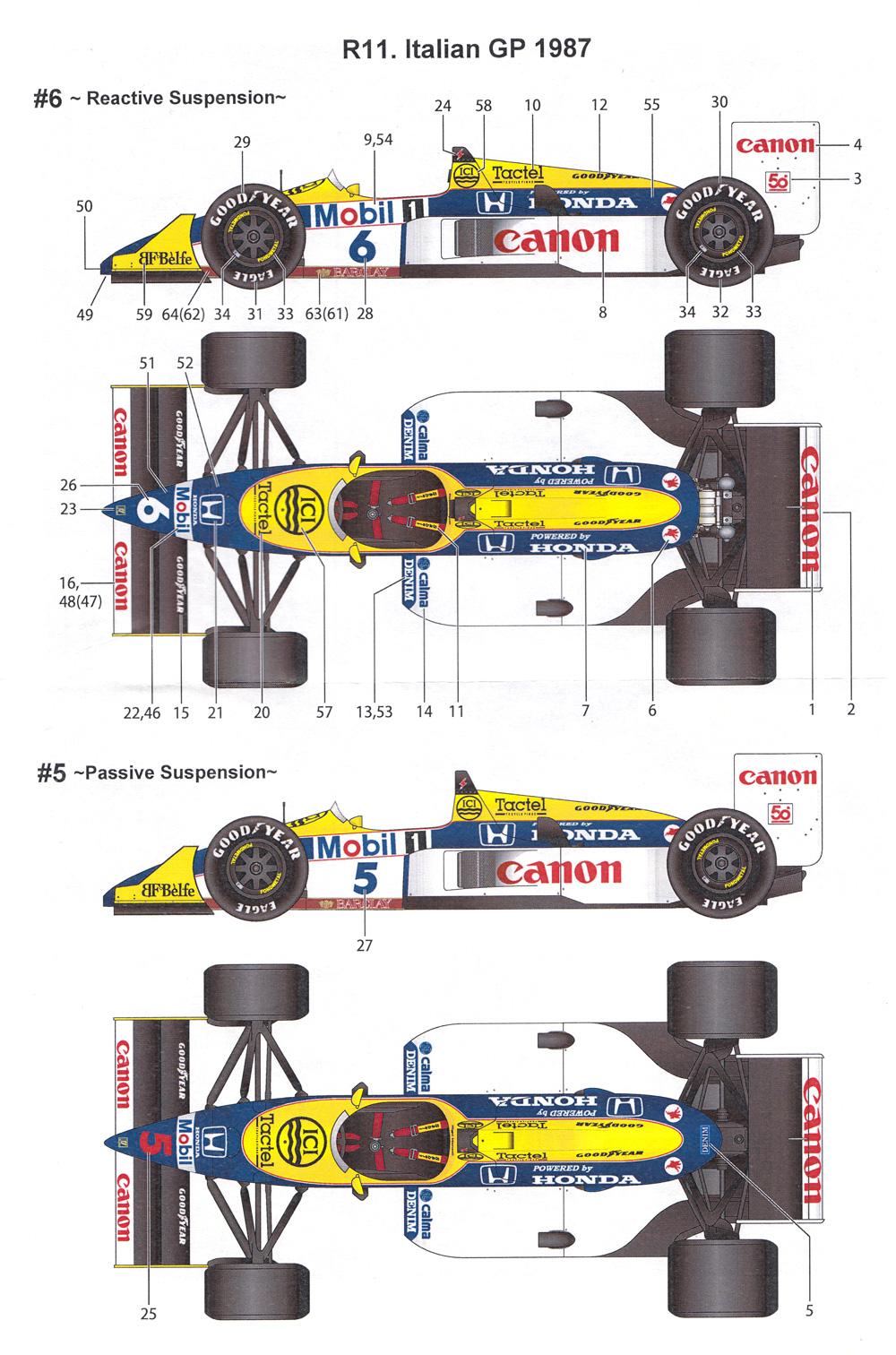 ウイリアムズ FW11B 1987 イタリアGP (トランスキット)レジン(スタジオ27F-1 トランスキットNo.TK2066R)商品画像_4