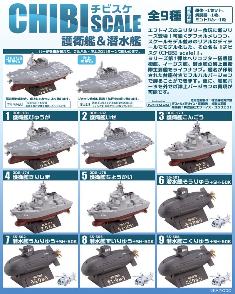 チビスケ 護衛艦 & 潜水艦塗装済組立キット(エフトイズチビスケNo.FT60281)商品画像_1