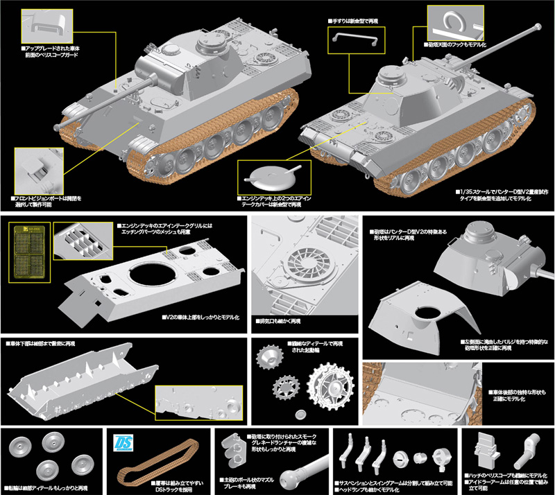 ドイツ パンター D型 V2 量産試作タイププラモデル(ドラゴン1/35 '39-'45 SeriesNo.6830)商品画像_3