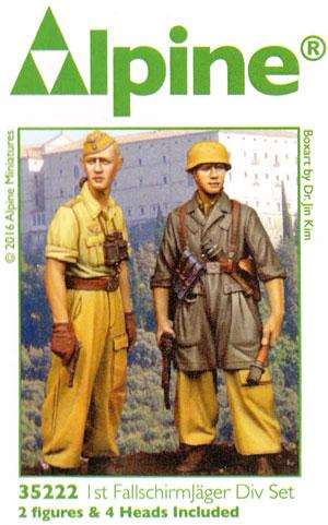 WW2 ドイツ イタリア戦線の第1降下猟兵師団 (2体セット) (熱帯軍装)レジン(アルパイン1/35 フィギュアNo.AM35222)商品画像