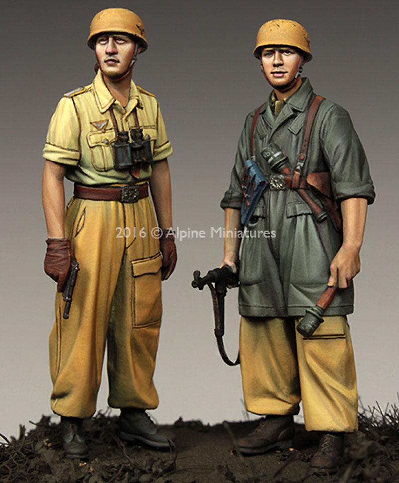WW2 ドイツ イタリア戦線の第1降下猟兵師団 (2体セット) (熱帯軍装)レジン(アルパイン1/35 フィギュアNo.AM35222)商品画像_2