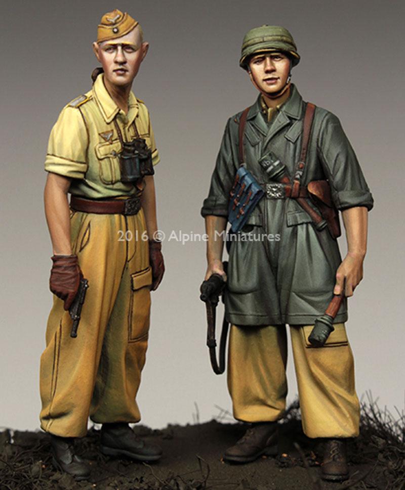 WW2 ドイツ イタリア戦線の第1降下猟兵師団 (2体セット) (熱帯軍装)レジン(アルパイン1/35 フィギュアNo.AM35222)商品画像_3