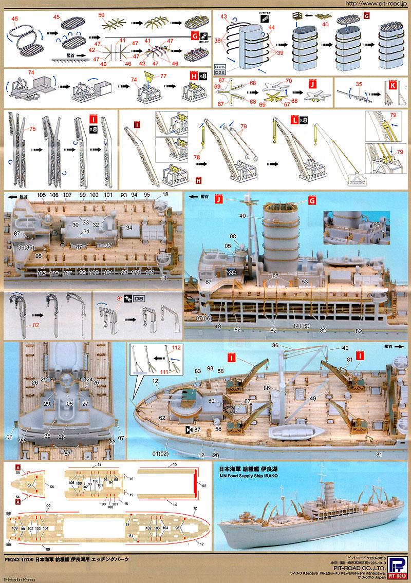 日本海軍 給糧艦 伊良湖用 (木製甲板付)エッチング(ピットロード1/700 エッチングパーツシリーズNo.PE-242)商品画像_3