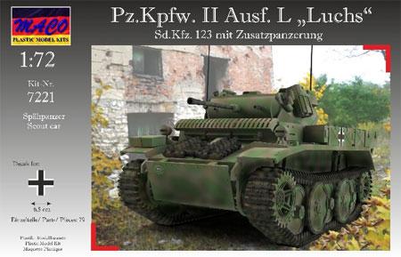 ドイツ Pz.Kpfw.2 Ausf.L ルクス偵察戦車 増加装甲プラモデル(マコ1/72 AFVキットNo.7221)商品画像