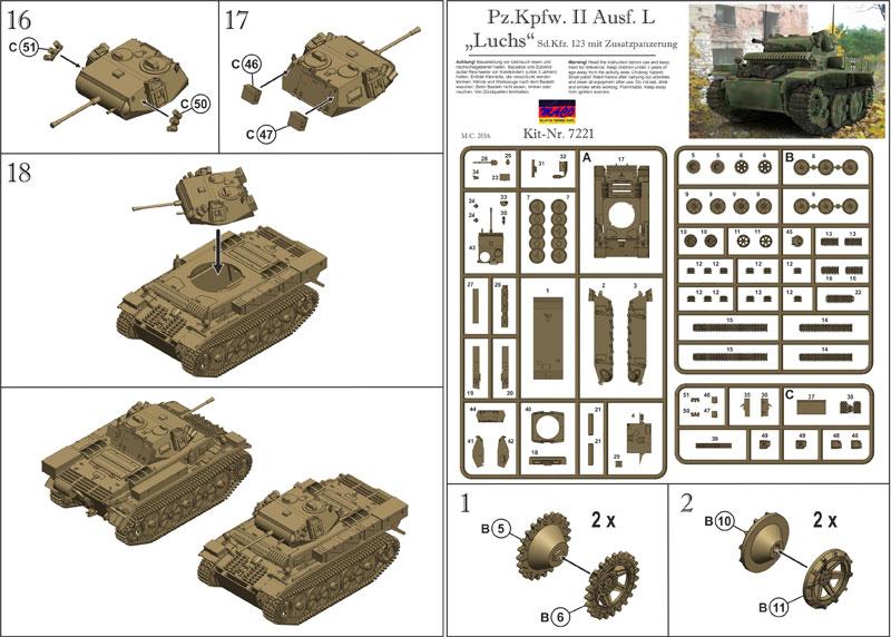 ドイツ Pz.Kpfw.2 Ausf.L ルクス偵察戦車 増加装甲プラモデル(マコ1/72 AFVキットNo.7221)商品画像_2