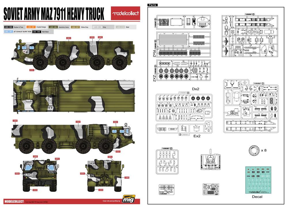ソ連軍 MAZ-7911 重トラックプラモデル(モデルコレクト1/72 AFV キットNo.UA72064)商品画像_3